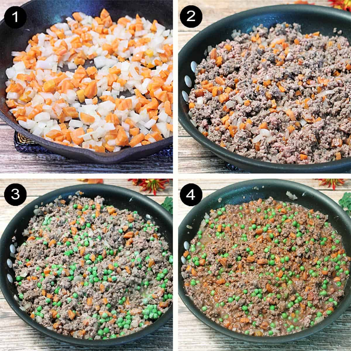 Prep steps to make beef vegetable mixture.