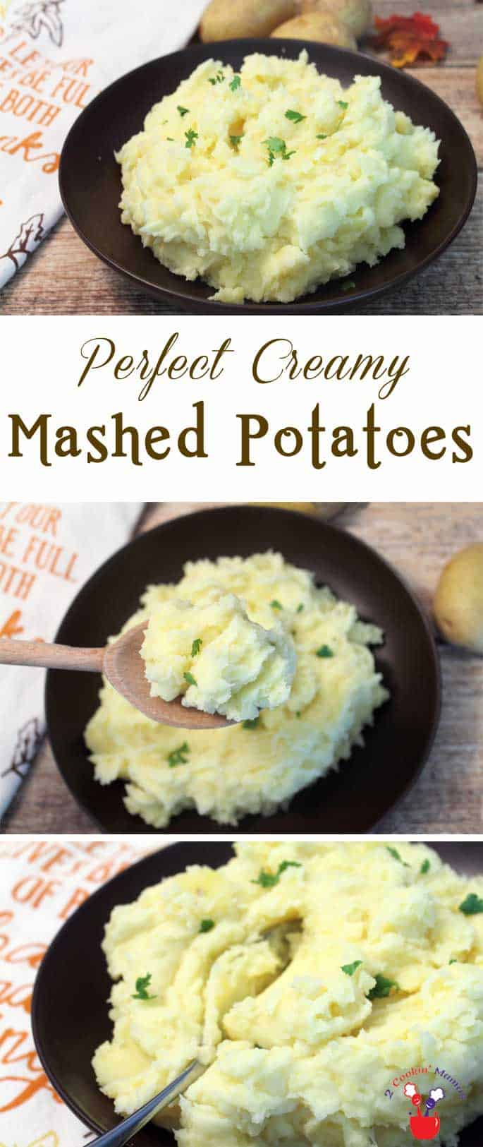 These creamy, buttery perfect mashed potatoes will come out delicious every time. Make them the crowning glory on your  everyday dinner table or a special occasion likeThanksgiving. #potatoes #mashepotatoes #sidedish #Thanksgivingside