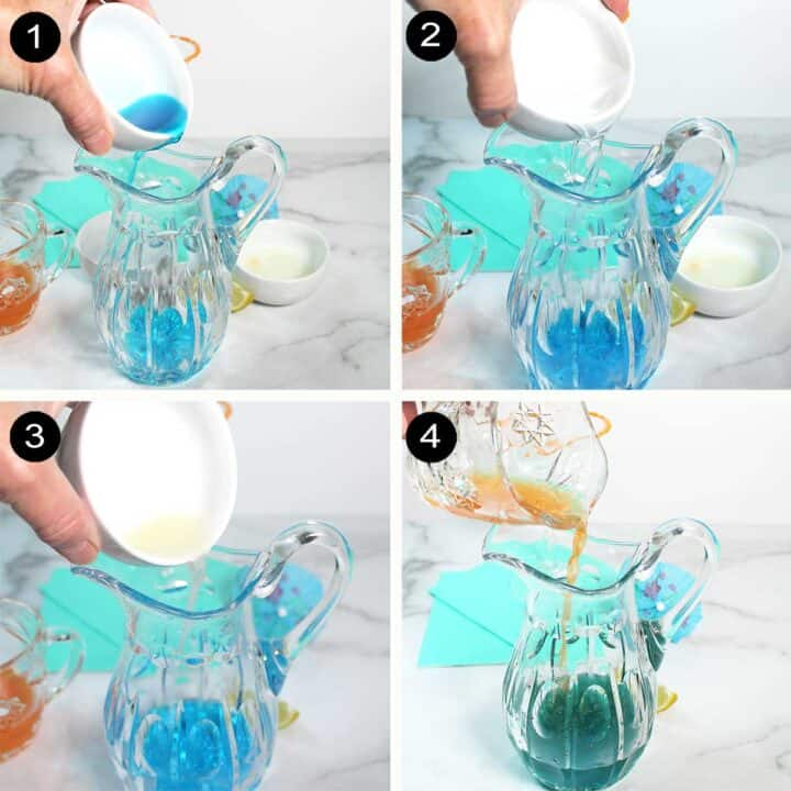 Steps to mix blue curacao cocktail.