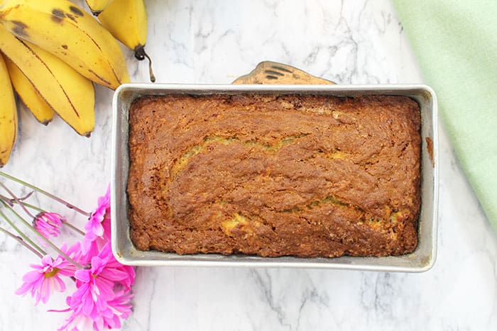 Classic Banana Bread baked and cooling in pan.