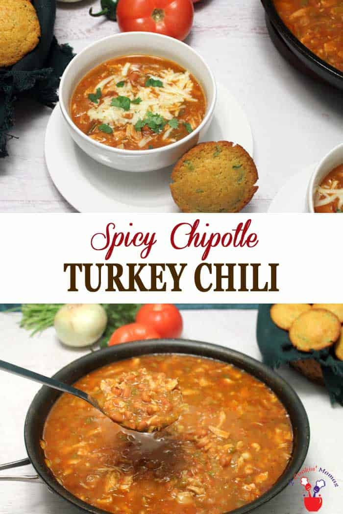 Chipotle Turkey Chili has all the things you love about chili & then some! Chock full of turkey, beans & chipotle flavors & ready in under 30. #chili #turkeychili #turkey #dinner #recipe #chipotle