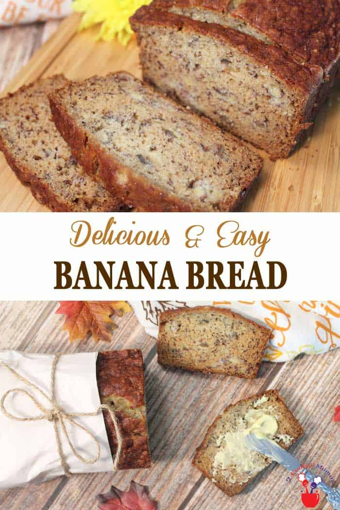 Easy Banana Bread | 2 Cookin Mamas Quick breads are so delicious and so easy to make and nothing beats the taste of a warm homemade banana bread. This easy banana bread recipe has been a family favorite now for over 50 years! #quickbread #bananabread #bananas #breakfast #baking #recipe