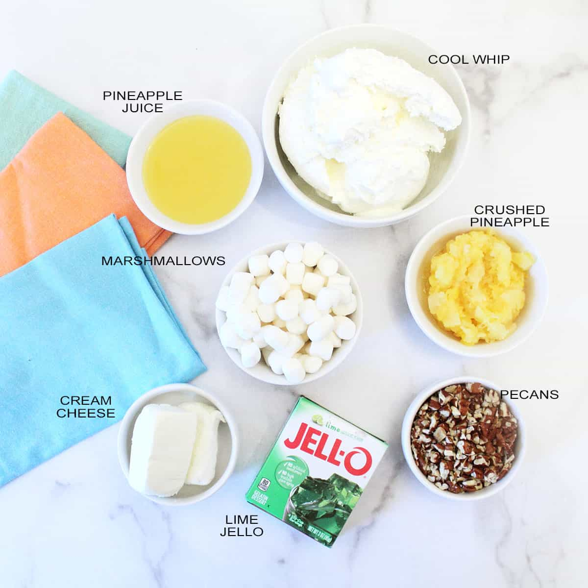 Ingredients labeled for lime jello fluff.
