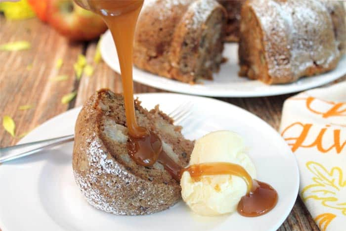 One Bowl Apple Cake a la mode   2 Cookin Mamas