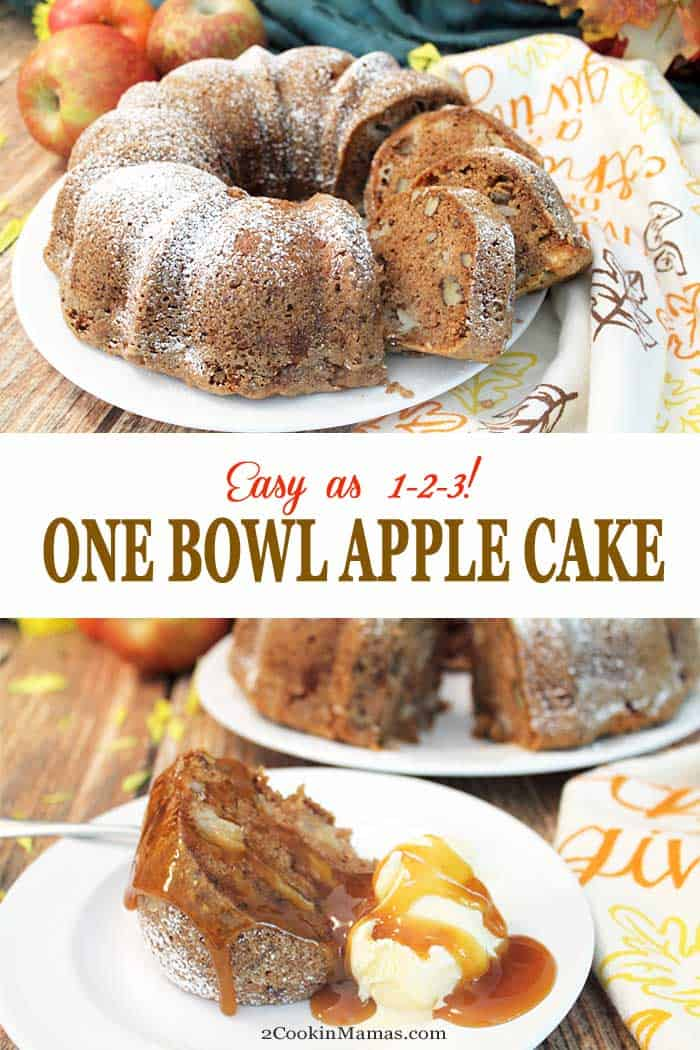 This One Bowl Apple Cake is as easy as 1-2-3. Just mix, bake & enjoy the rich flavors of apples & cinnamon in this moist dense dessert. #cake #dessert #apples #recipe #quickandeasy #fall