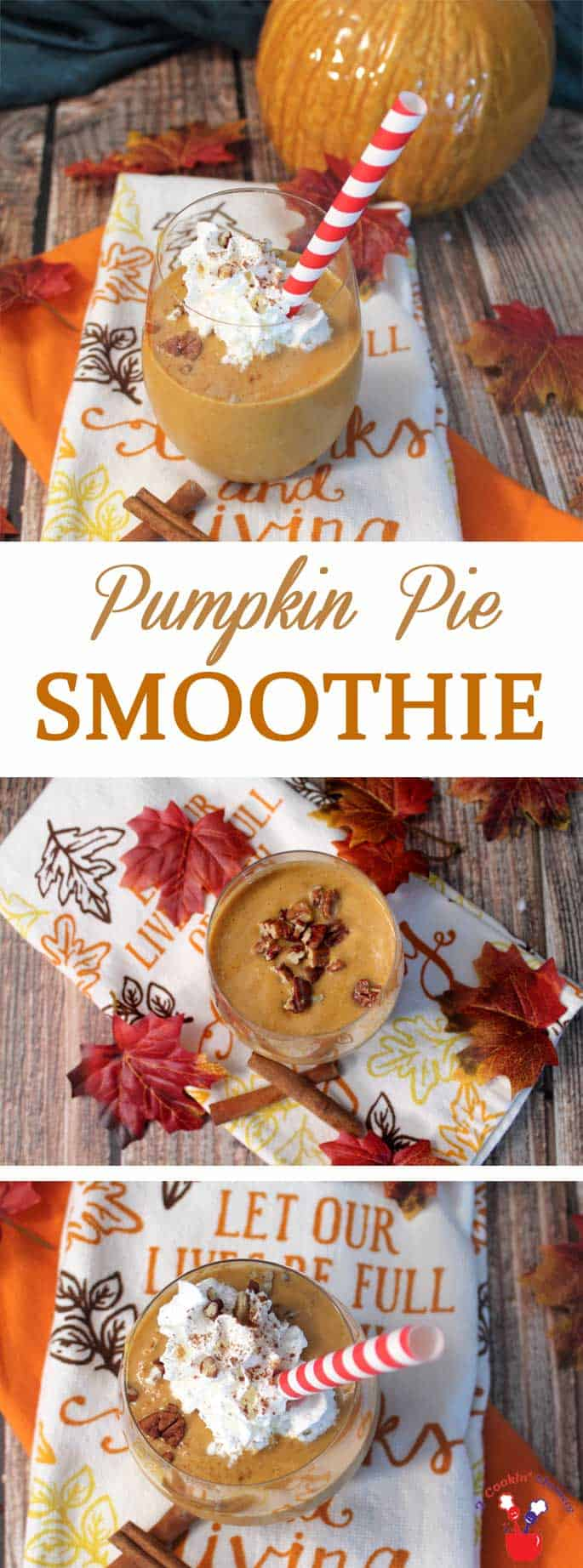 Pumpkin Pie Smoothie main | 2 Cookin Mamas Our Pumpkin Pie Smoothie is super healthy and packed with protein & plenty of fiber. It's like having a slice of pumpkin pie in a glass. #recipe