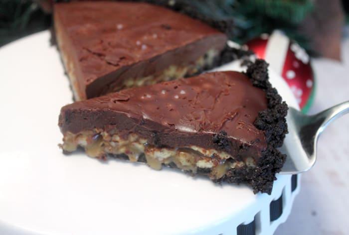 Salted Caramel Pecan Chocolate Pie 2 | 2 Cookin Mamas