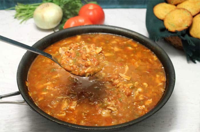Spicy Chipotle Turkey Chili skillet | 2 Cookin Mamas