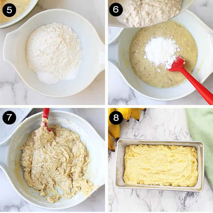 Steps 5-8 finishing banana read batter