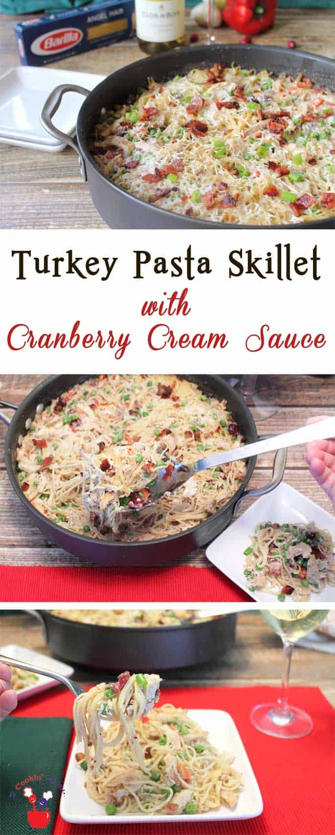 Turkey Pasta Skillet with Cranberry Cream Sauce is rich, creamy & so easy to make. Great use for holiday leftovers & delicious enough to serve for company. #thetalkofthetable #ad