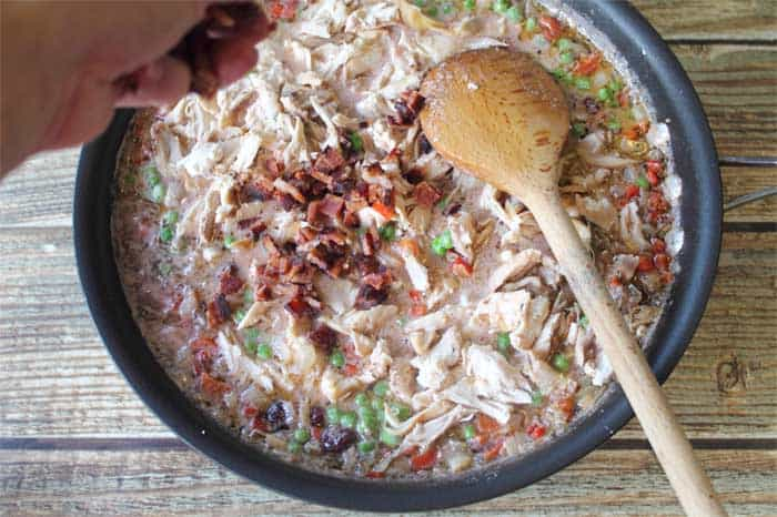 Turkey Pasta Skillet in Cranberry Cream Sauce prep 3 | 2 Cookin Mamas #shop #thetalkofthetable
