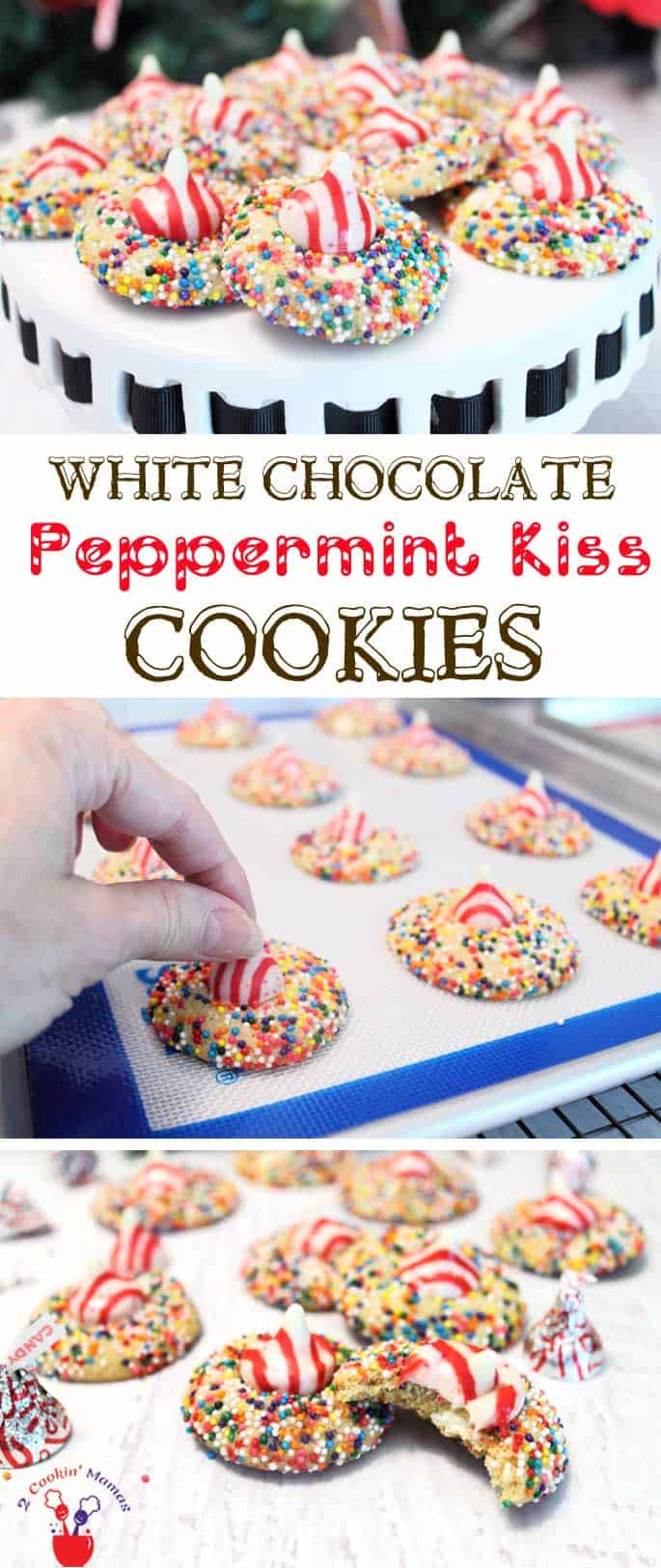 White Chocolate Peppermint Kiss Cookies | 2 Cookin Mamas Peppermint & white chocolate combine to make the perfect Christmas cookie complete with a kiss on top. #recipe