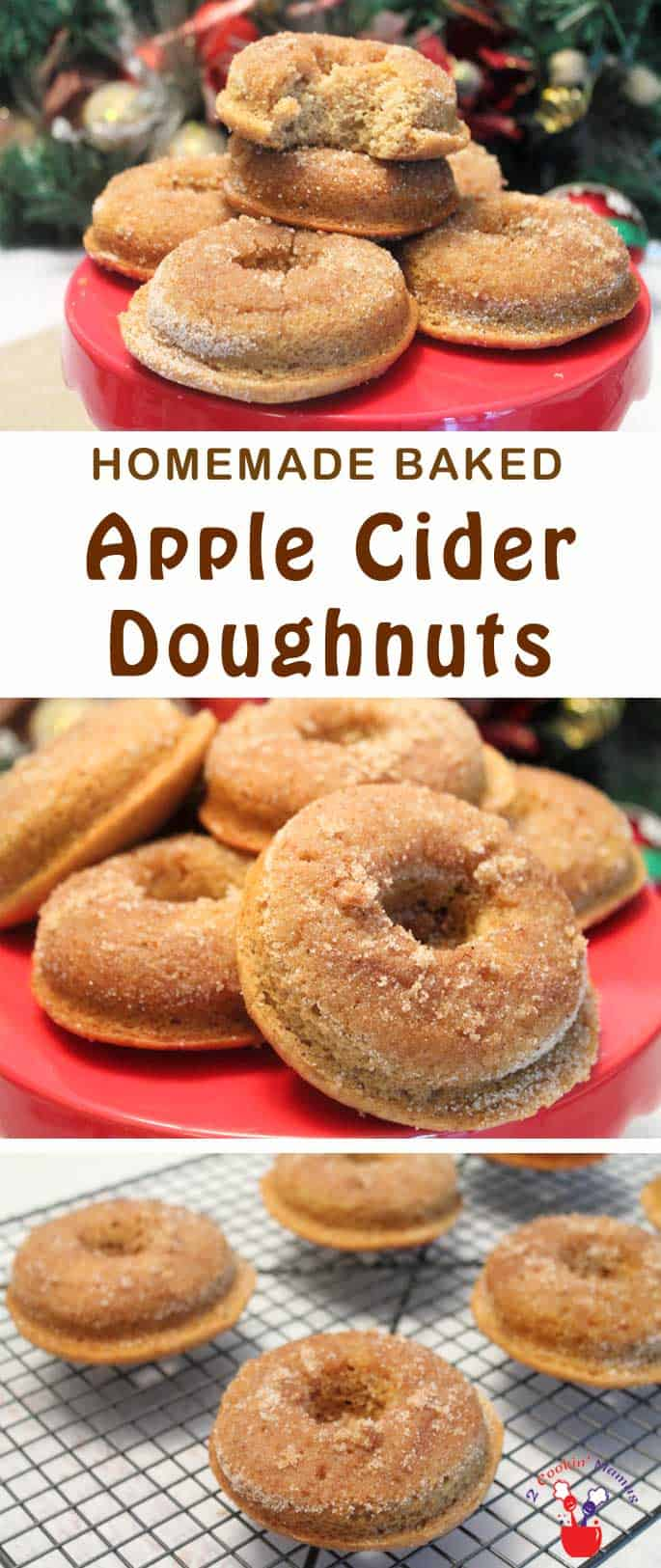 Fresh baked, fluffy apple cider doughnuts, topped with cinnamon sugar, bring the taste of apples and spice to your breakfast table. #recipe #doughnuts #breakfast #applecider