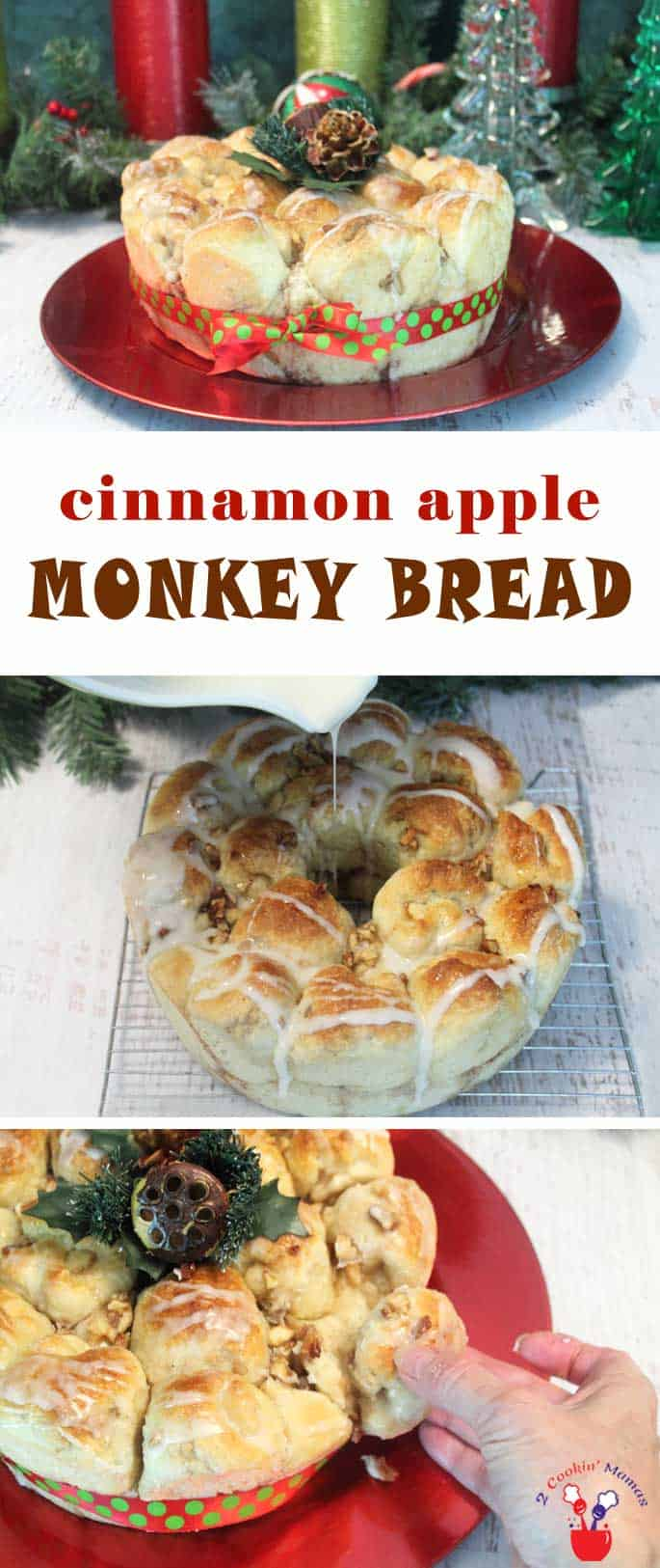 Little balls of sweet dough filled with cinnamon apples and pecans make this cinnamon apple monkey bread a breakfast favorite.  #breakfast #monkeybread #bread #recipe #apples