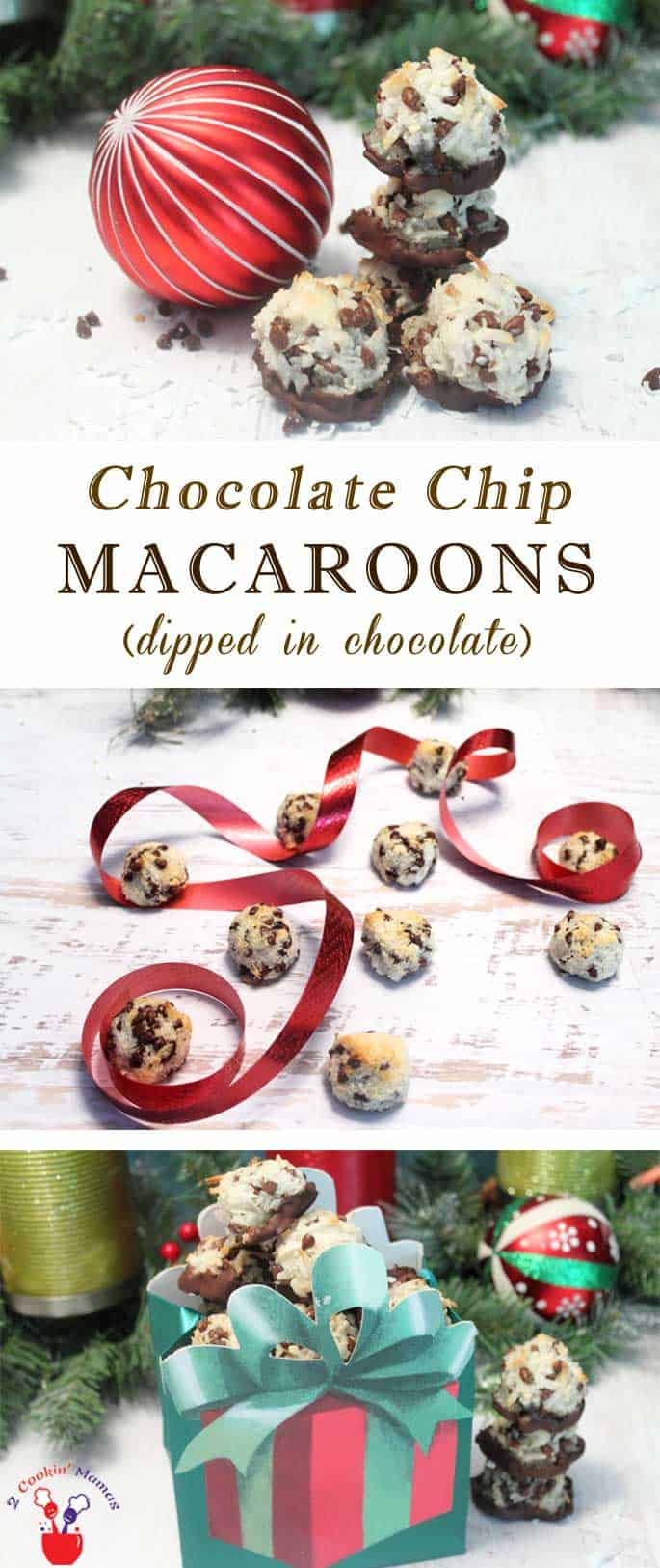 Chocolate Chip Macaroons main | 2 Cookin Mamas Coconuty Chocolate Chip Macaroons are simple to make, deliciously chewy & gluten-free! Of course, I had to dip them in chocolate too! #recipe