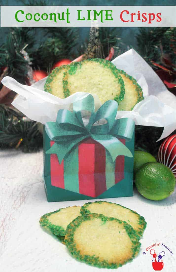 Coconut Lime Crisps | 2 Cookin Mamas Our Coconut Lime Crisps are a thin, crispy cookie with wonderful tart lime flavor & sweet coconut. Tropical meets Christmas! #recipe
