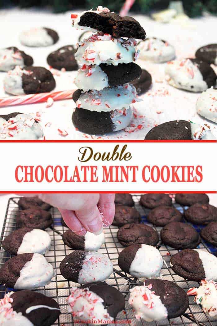 Double Chocolate Mint Cookies | 2 Cookin Mamas Soft, rich chocolate cookies filled with mint chocolate chips, dipped in white chocolate & sprinkled with crunchy candy cane pieces. Yum! #cookies #christmascookies #recipe #chocolate #peppermint #holidaybaking