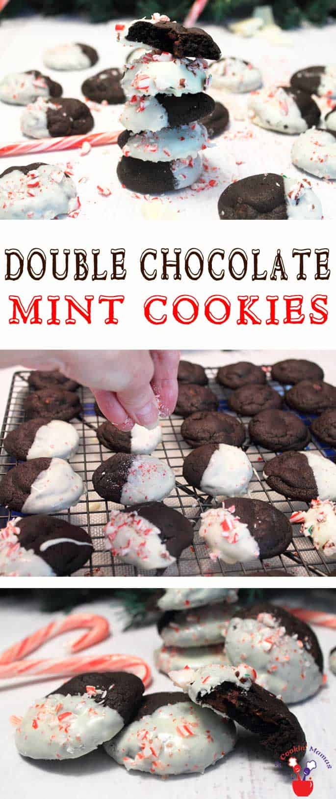 Double Chocolate Mint Cookies | 2 Cookin Mamas Rich & chewy Double Chocolate Mint Cookies are not only filled with mint chocolate chips but dipped in chocolate too then sprinkled with crunchy peppermint pieces.