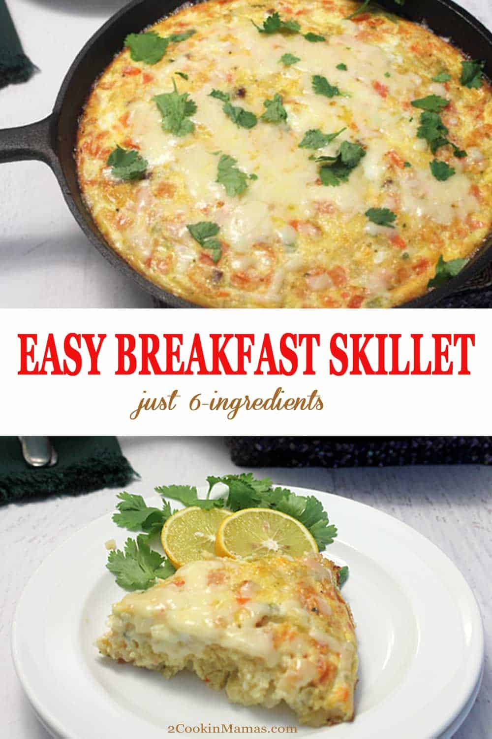 Easy Breakfast Skillet | 2 Cookin Mamas Make this easy breakfast skillet with only 6 ingredients & one pan! Mix bacon, eggs, hash browns, salsa & cheese then bake. Delicious breakfast without the fuss! #breakfast #eggs #recipe #bacon #hashbrowns #easy #onepan #ironskillet