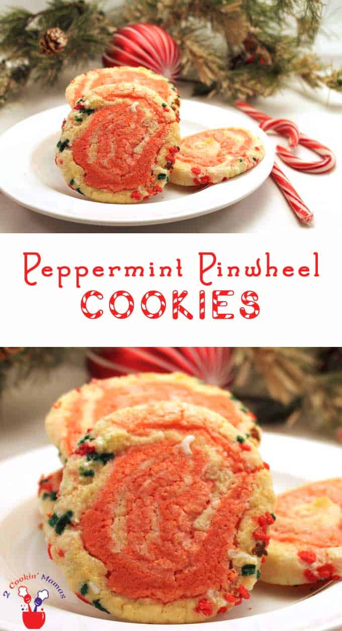 Peppermint Pinwheel Cookies | 2 Cookin Mamas Peppermint Pinwheel Cookies are made of peppermint cookie dough colored half red, rolled into a log then cut and baked. These pretty pinwheel cookies are perfect for party trays and gift-giving. #recipe