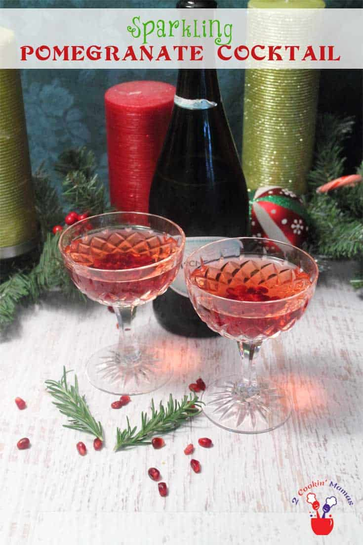 Sparkling Pomegranate Cocktail | 2 Cookin Mamas Celebrate the holidays with this bubbly cocktail full of pomegranate juice, orange liqueur, vodka and champagne. #recipe