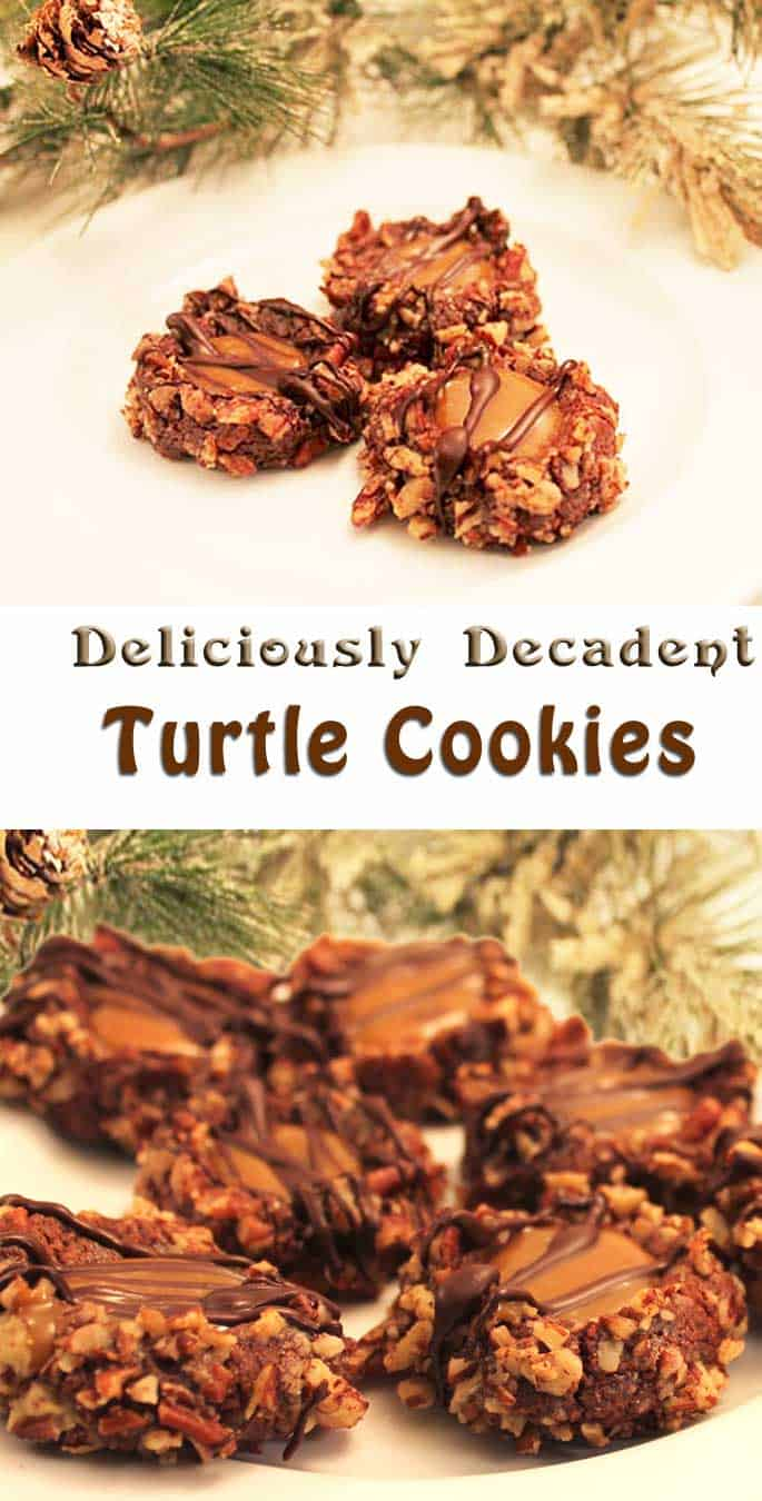 Turtle Cookies | Turtle Cookies are like everyone's favorite turtle candies in cookie form. Soft, chewy cookies with a center of caramel & a drizzle of chocolate are so decadent and delicious you might not want to share. #recipe