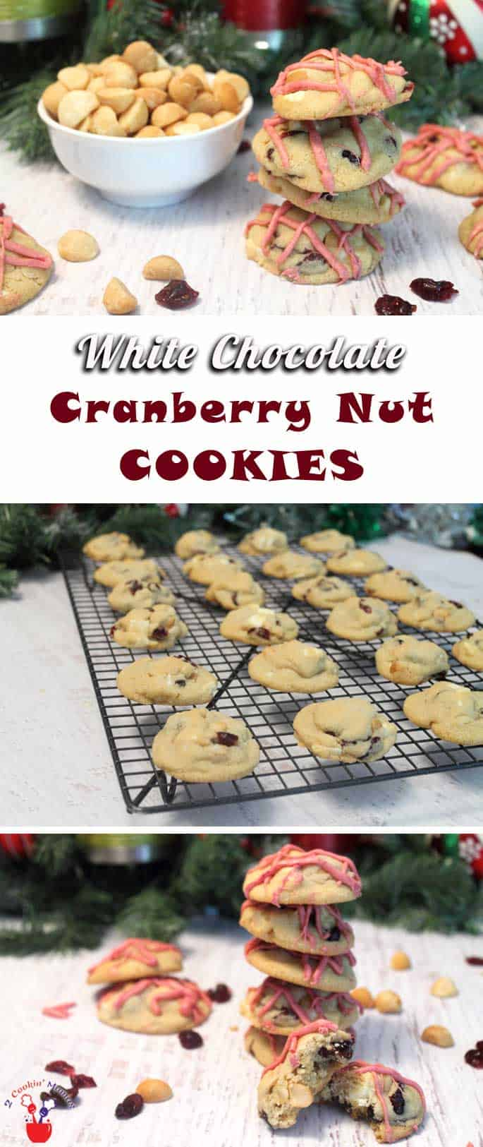 White Chocolate Cranberry Nut Cookies | 2 Cookin Mamas An ultra-chunky buttery cookie stuffed with crunchy macadamia nuts, creamy white chocolate chunks & chewy cranberries. One bite of this cookie will have you craving more!