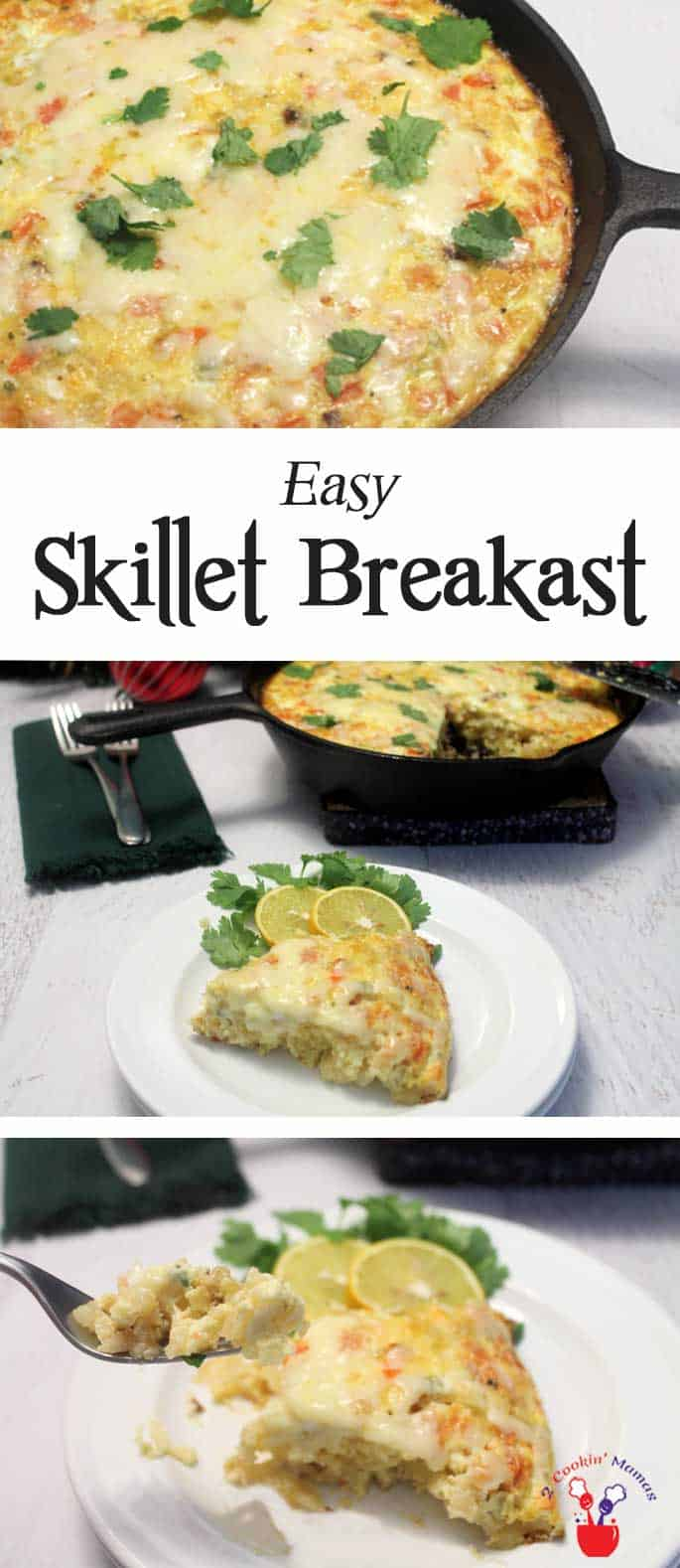 Easy Breakfast Skillet | 2 Cookin Mamas A deliciously filling & easy breakfast skillet that's made all in one pan. All you need are 6 ingredients - bacon, eggs, cheese, hash browns, salsa and milk. So easy to make, just mix and bake. #recipe