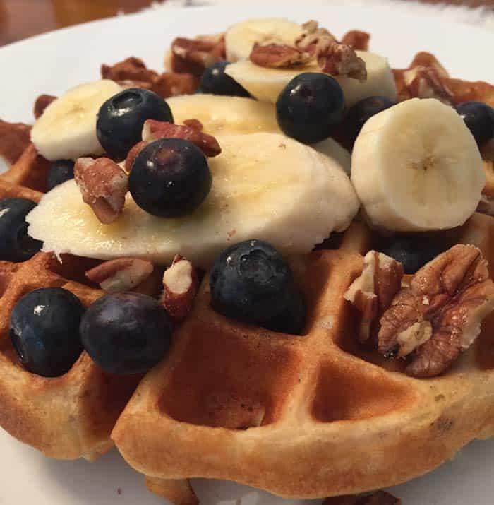Almond Flour Waffles closeup | 2 Cookin Mamas