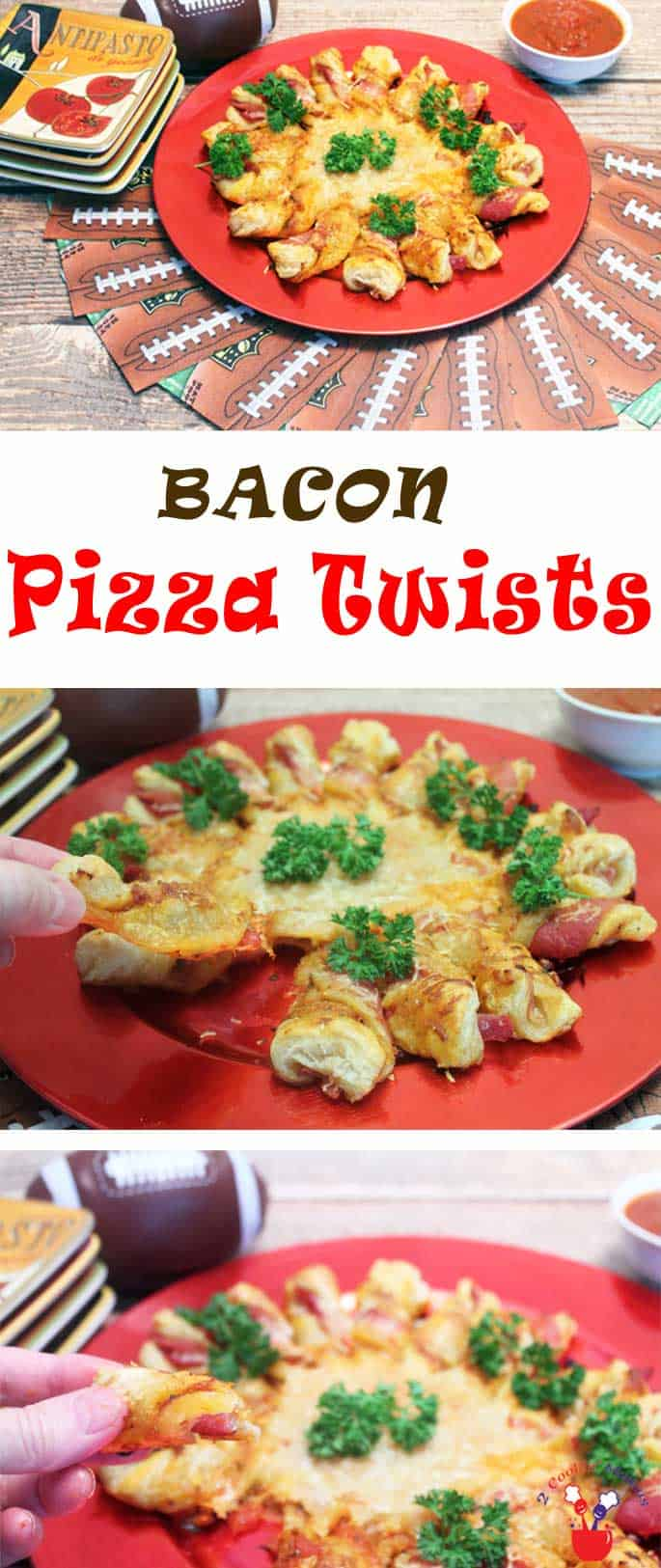 Puff Pastry Bacon Pizza Twists bring all the flavor of pizza to the party with a touch of bacon. An easy to make pull-apart appetizer that's always popular. #appetizer #pizza #bacon #recipe #footballmunchies