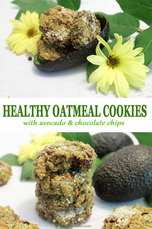 Healthy Avocado Oatmeal Chocolate Chip Cookies