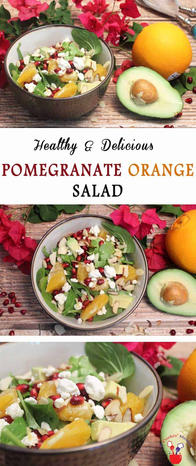Our Pomegranate Orange Salad is colorful, light & healthy. Oranges,pomegranate seeds, avocado & almonds are tossed with a light dressing for a tasty side.