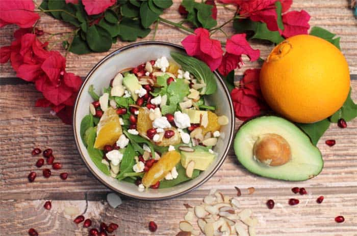 Pomegranate Orange Salad overhead | 2 Cookin Mamas