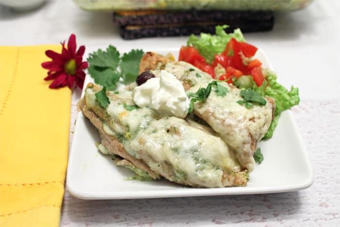 Pork Enchiladas plated | 2 Cookin Mamas