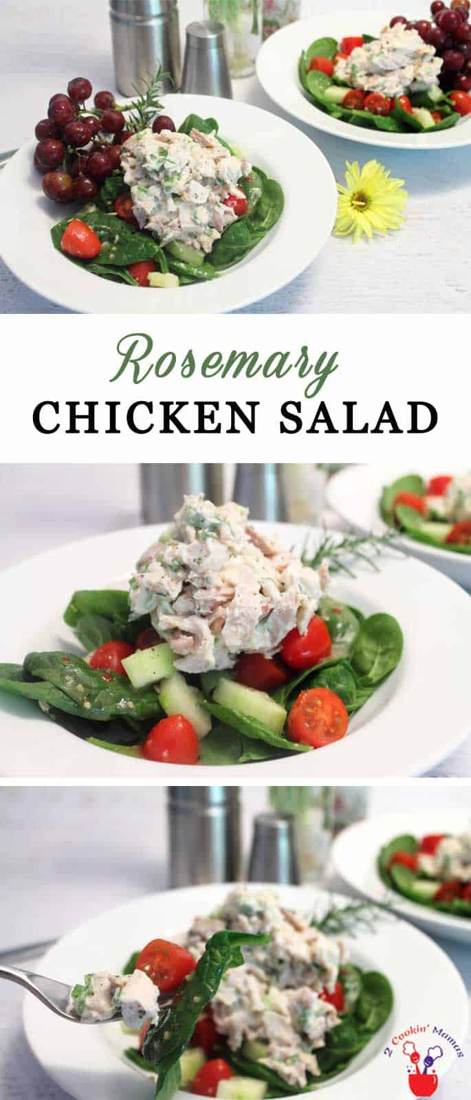 Rosemary Chicken Salad   2 Cookin Mamas Our healthy Rosemary Chicken Salad is easy to make and, when served over our spinach salad, is packed with lean protein, fiber and important antioxidants. #recipe