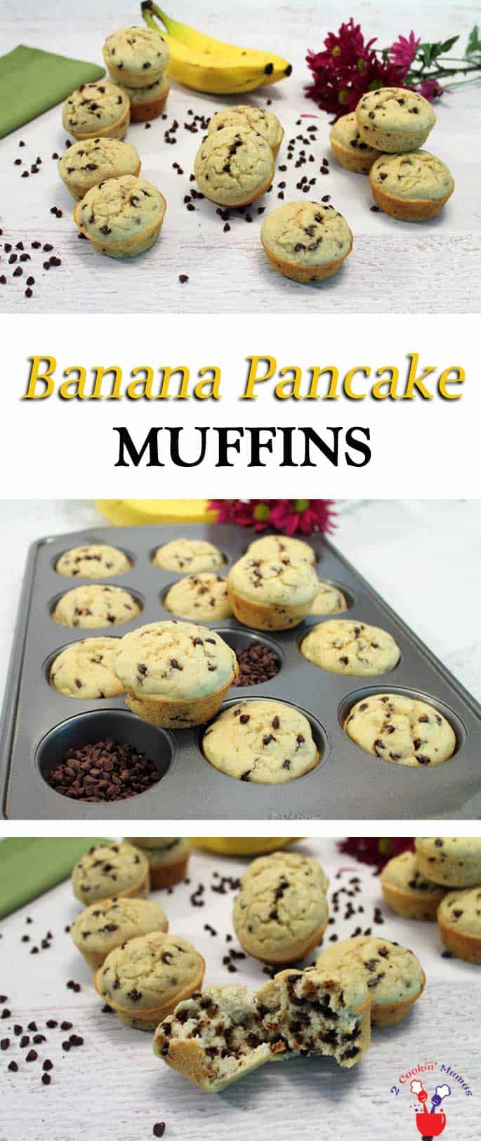 Banana Pancake Muffins | 2 Cookin Mamas A super easy banana pancake in muffin form for a yummy on the go breakfast treat. #recipe