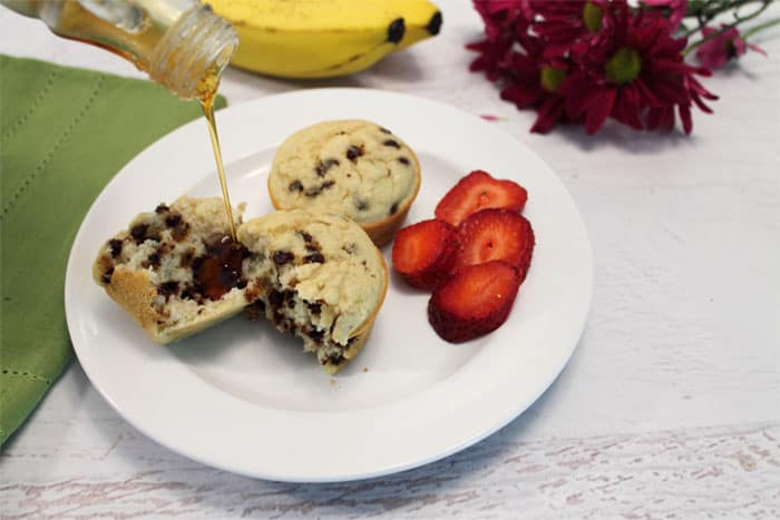 Banana Pancake Muffins plated | 2 Cookin Mamas