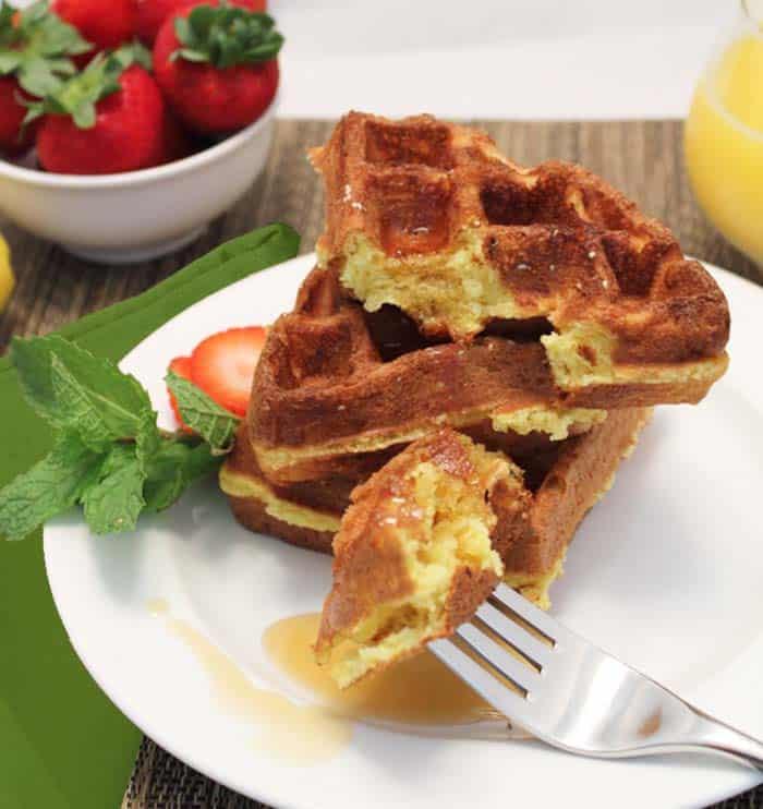 Eggnog Waffles bite   2 Cookin Mamas