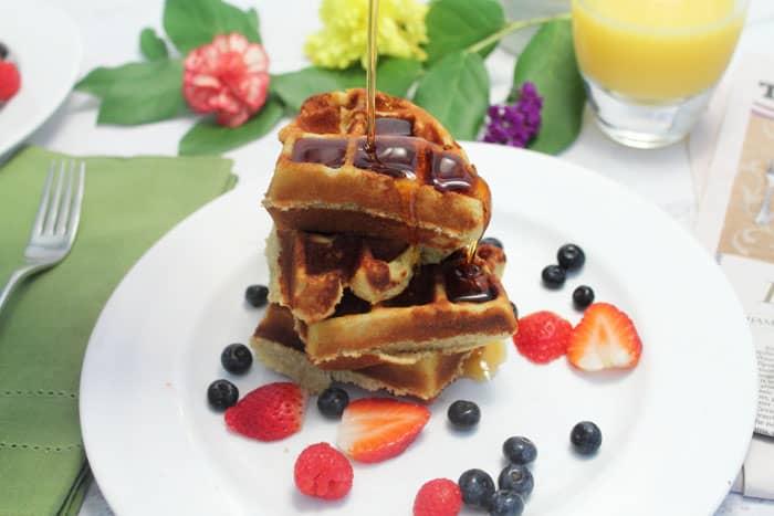 Eggnog Waffles stacked | 2 Cookin Mamas