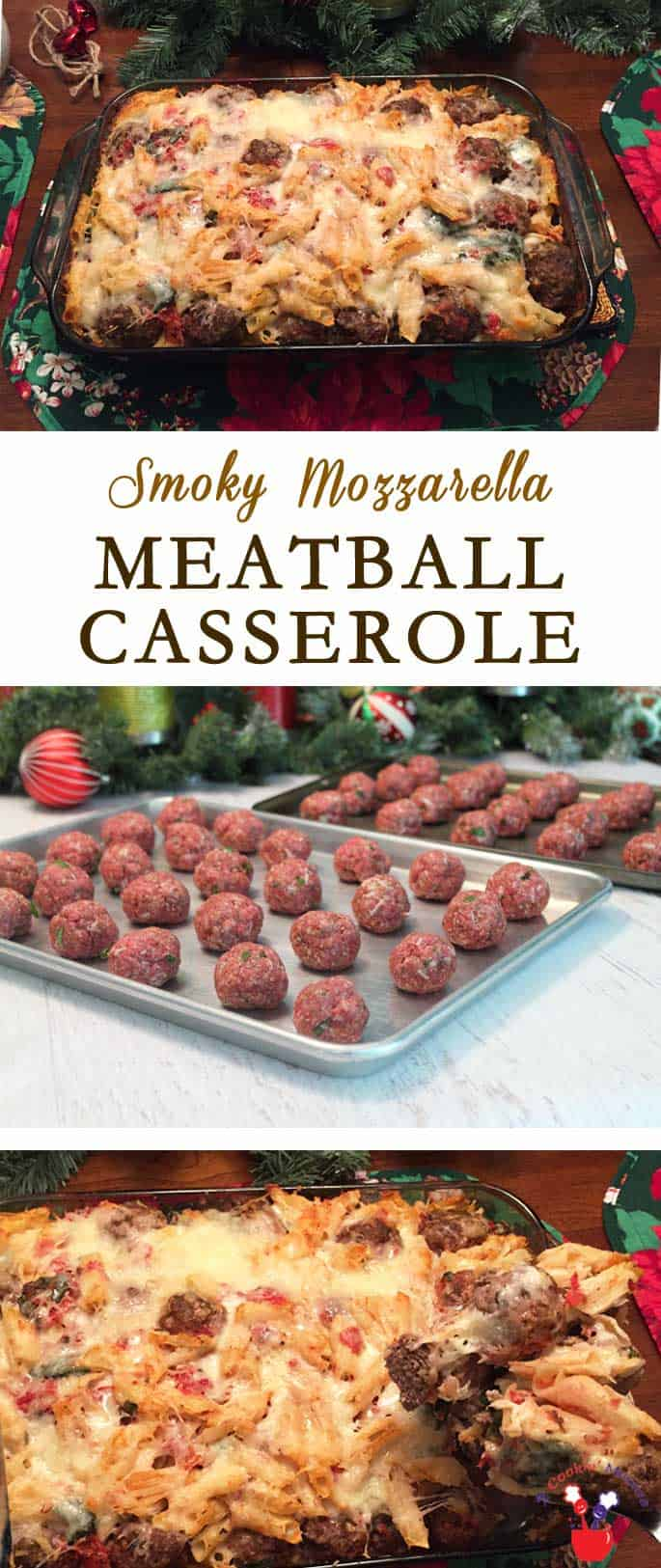 Smoky Mozzarella Meatball Casserole | 2 Cookin Mamas Dinner has never been so good! This Meatball Casserole combines everyone's favorites, meatballs, pasta, cheese and tomatoes, into a delicious casserole that goes together quickly and easily.