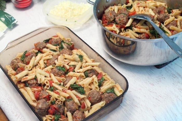 Smoky Mozzarella Meatball Casserole first layer   2 Cookin Mamas