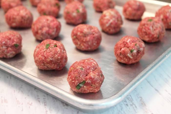 Smoky Mozzarella Meatball Casserole meatballs | 2 Cookin Mamas