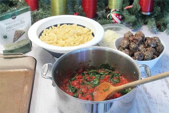 Smoky Mozzarella Meatball Casserole ready to assemble   2 Cookin Mamas