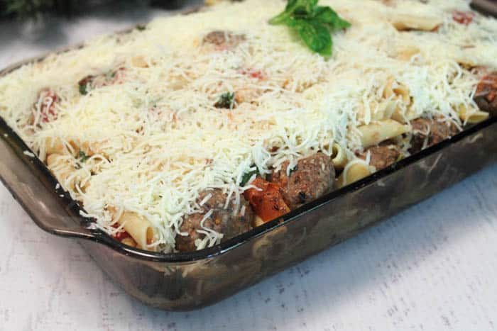 Smoky Mozzarella Meatball Casserole ready to bake | 2 Cookin Mamas
