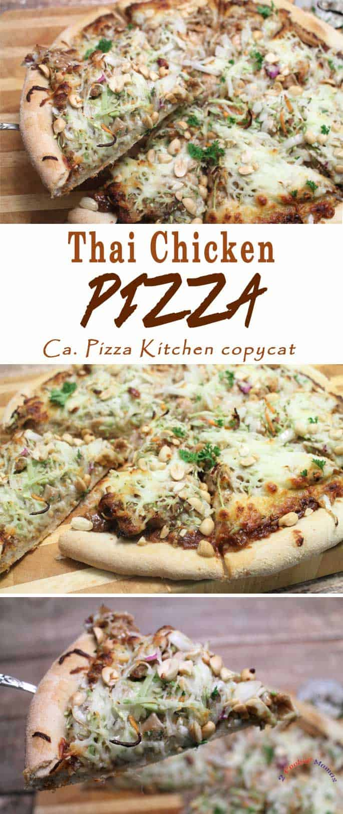 Thai Chicken Pizza | 2 Cookin Mamas If you love Thai flavors & can't get enough of pizza then this Thai Chicken Pizza is for you! Think chicken tossed in peanut sauce, scattered with bean sprouts, carrots, onion and peanuts then topped with mozzarella.