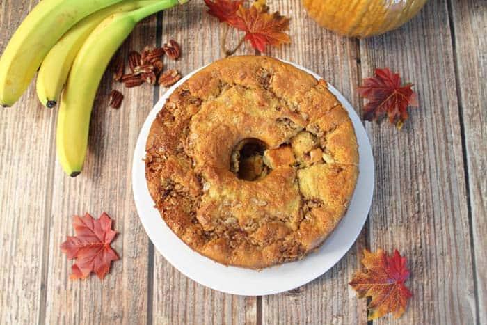 Banana Crunch Cake overhead | 2 Cookin Mamas