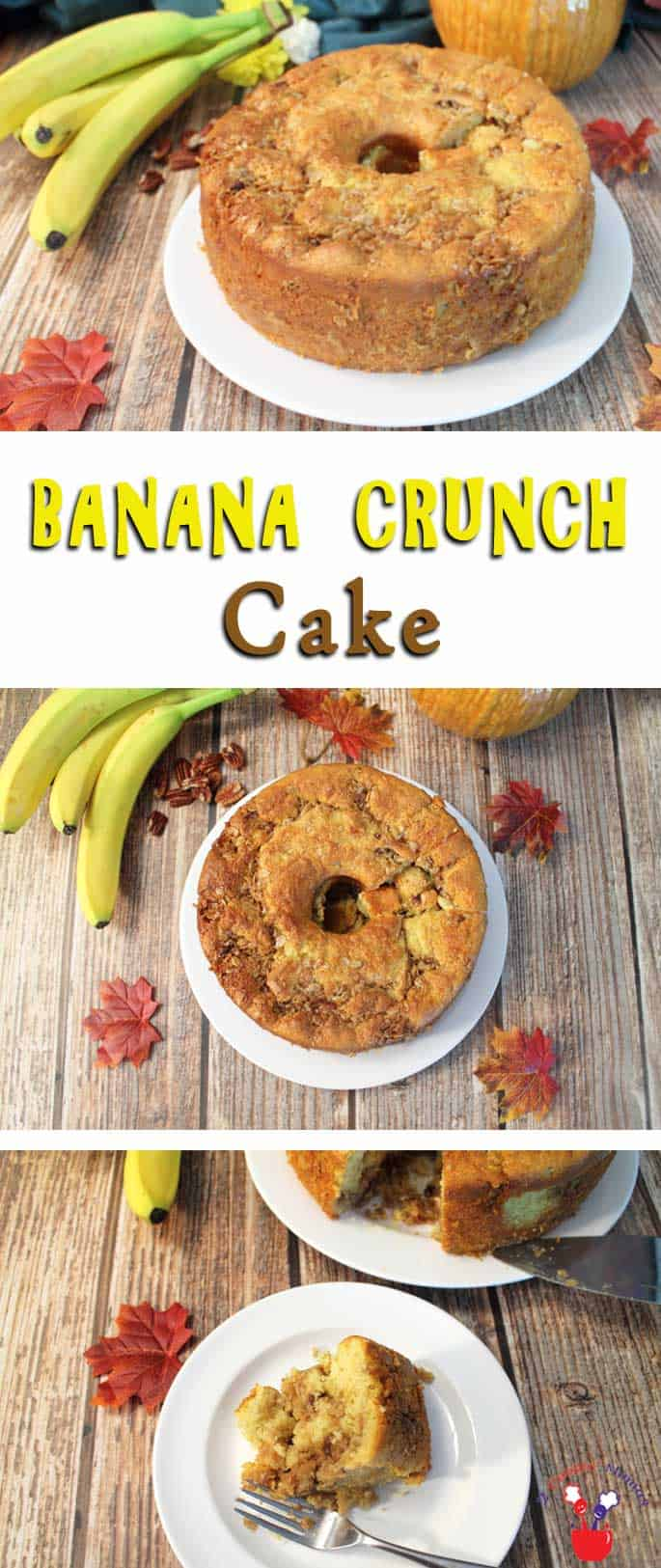 Banana Crunch Cake | 2 Cookin Mamas A super easy cake that goes together in minutes & comes out like it was made from scratch. This Banana Crunch Cake is moist, has an incredible banana flavor, and the most awesomely delicious coconut pecan filling.