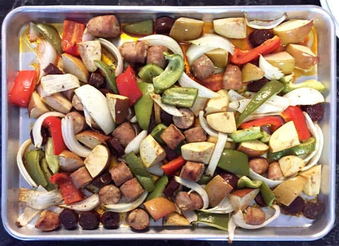 Chicken Apple Sausage Sheet Pan Dinner cooked | 2 Cookin Mamas