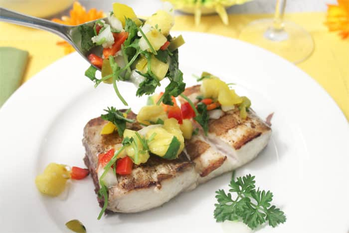 Grilled Mahi Mahi with Pineapple Salsa 1 | 2 Cookin Mamas