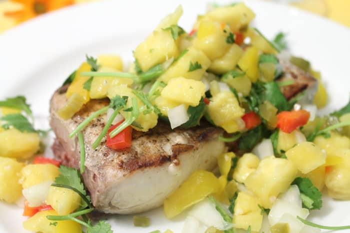 Grilled Mahi Mahi with Pineapple Salsa closeup | 2 Cookin Mamas